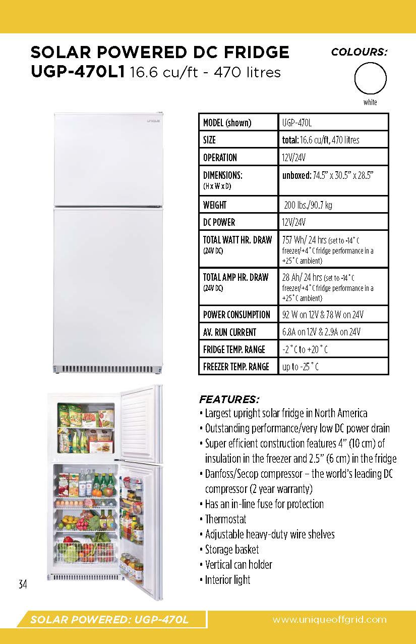 Unique UGP-470L1DC Solar Refrigerator | F W  Webb Online