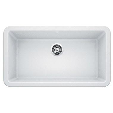 """Kitchen Sink Ikon 33x19"""" Depth 9-1/4"""" Single Bowl Apron Front White Rectangle"""